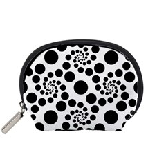 Dot Dots Round Black And White Accessory Pouches (small)