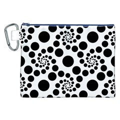 Dot Dots Round Black And White Canvas Cosmetic Bag (xxl) by BangZart
