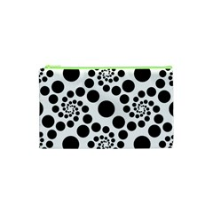 Dot Dots Round Black And White Cosmetic Bag (xs) by BangZart