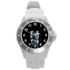 Glass Water Liquid Background Round Plastic Sport Watch (l) by BangZart