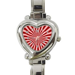Sun Background Optics Channel Red Heart Italian Charm Watch by BangZart