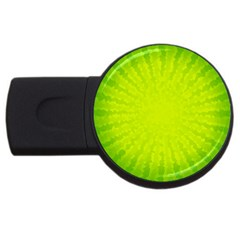 Radial Green Crystals Crystallize Usb Flash Drive Round (2 Gb) by BangZart