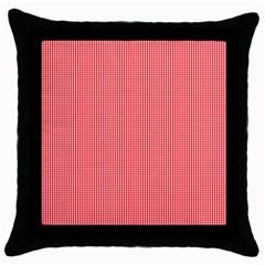 Christmas Red Velvet Mini Gingham Check Plaid Throw Pillow Case (black) by PodArtist