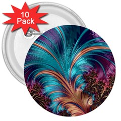 Feather Fractal Artistic Design 3  Buttons (10 Pack)