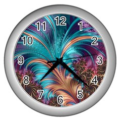 Feather Fractal Artistic Design Wall Clocks (silver)  by BangZart