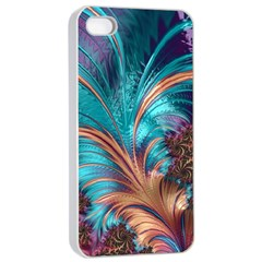 Feather Fractal Artistic Design Apple Iphone 4/4s Seamless Case (white) by BangZart
