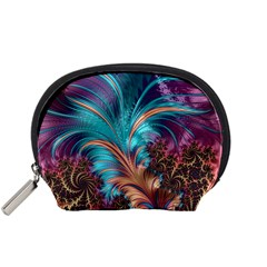 Feather Fractal Artistic Design Accessory Pouches (small)  by BangZart