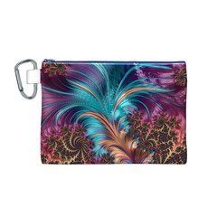 Feather Fractal Artistic Design Canvas Cosmetic Bag (m) by BangZart