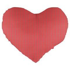 Christmas Red Velvet Mini Gingham Check Plaid Large 19  Premium Heart Shape Cushions by PodArtist