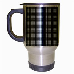 Silent Night Blue Mini Gingham Check Plaid Travel Mug (silver Gray) by PodArtist