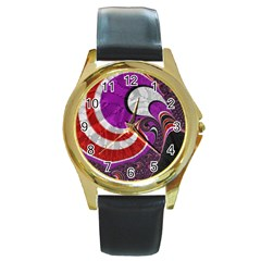 Fractal Art Red Design Pattern Round Gold Metal Watch by BangZart