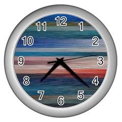 Background Horizontal Lines Wall Clocks (silver)  by BangZart