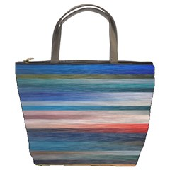 Background Horizontal Lines Bucket Bags by BangZart