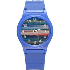 Background Horizontal Lines Round Plastic Sport Watch (s) by BangZart