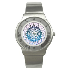 Mandalas Symmetry Meditation Round Stainless Steel Watch by BangZart