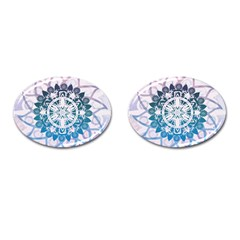 Mandalas Symmetry Meditation Round Cufflinks (oval) by BangZart
