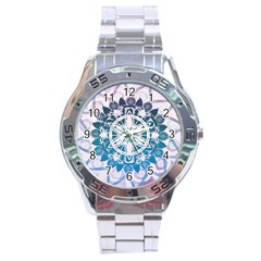 Mandalas Symmetry Meditation Round Stainless Steel Analogue Watch by BangZart