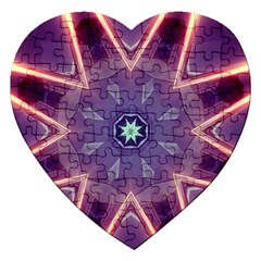 Abstract Glow Kaleidoscopic Light Jigsaw Puzzle (heart) by BangZart