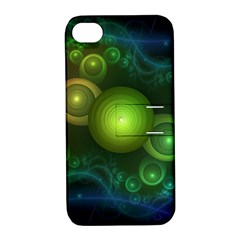 Retrotacular Rainbow Dots In A Fractal Microscope Apple Iphone 4/4s Hardshell Case With Stand by jayaprime