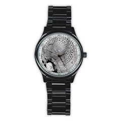 Fragmented Fractal Memories And Gunpowder Glass Stainless Steel Round Watch by beautifulfractals