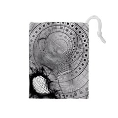 Fragmented Fractal Memories And Gunpowder Glass Drawstring Pouches (medium)  by beautifulfractals