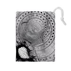 Fragmented Fractal Memories And Gunpowder Glass Drawstring Pouches (large)  by beautifulfractals