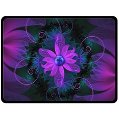 Beautiful Ultraviolet Lilac Orchid Fractal Flowers Double Sided Fleece Blanket (large)  by beautifulfractals
