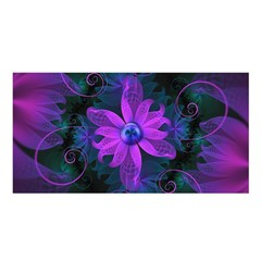Beautiful Ultraviolet Lilac Orchid Fractal Flowers Satin Shawl by beautifulfractals