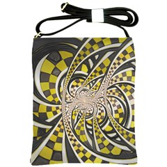 Liquid Taxi Cab, A Yellow Checkered Retro Fractal Shoulder Sling Bags by beautifulfractals