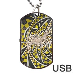 Liquid Taxi Cab, A Yellow Checkered Retro Fractal Dog Tag Usb Flash (one Side) by beautifulfractals