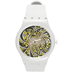Liquid Taxi Cab, A Yellow Checkered Retro Fractal Round Plastic Sport Watch (m) by jayaprime