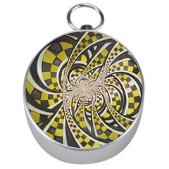 Liquid Taxi Cab, A Yellow Checkered Retro Fractal Silver Compasses by beautifulfractals