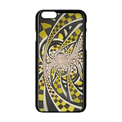 Liquid Taxi Cab, A Yellow Checkered Retro Fractal Apple Iphone 6/6s Black Enamel Case by beautifulfractals