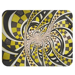 Liquid Taxi Cab, A Yellow Checkered Retro Fractal Double Sided Flano Blanket (medium)  by beautifulfractals