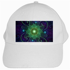 Glowing Blue Green Fractal Lotus Lily Pad Pond White Cap by beautifulfractals