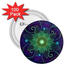 Glowing Blue Green Fractal Lotus Lily Pad Pond 2 25  Buttons (100 Pack)  by beautifulfractals