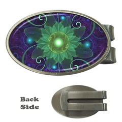 Glowing Blue Green Fractal Lotus Lily Pad Pond Money Clips (oval)  by beautifulfractals
