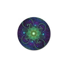 Glowing Blue Green Fractal Lotus Lily Pad Pond Golf Ball Marker (10 Pack) by beautifulfractals