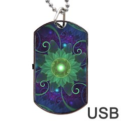 Glowing Blue Green Fractal Lotus Lily Pad Pond Dog Tag Usb Flash (one Side) by beautifulfractals