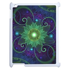 Glowing Blue Green Fractal Lotus Lily Pad Pond Apple Ipad 2 Case (white) by beautifulfractals