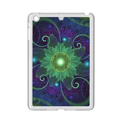 Glowing Blue Green Fractal Lotus Lily Pad Pond Ipad Mini 2 Enamel Coated Cases by beautifulfractals