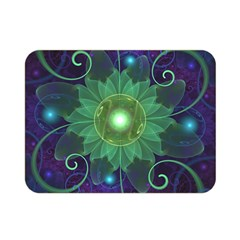 Glowing Blue Green Fractal Lotus Lily Pad Pond Double Sided Flano Blanket (mini)  by beautifulfractals