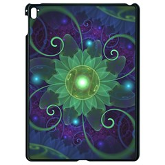 Glowing Blue Green Fractal Lotus Lily Pad Pond Apple Ipad Pro 9 7   Black Seamless Case