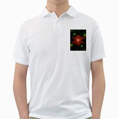 Beautiful Red Passion Flower In A Fractal Jungle Golf Shirts by beautifulfractals