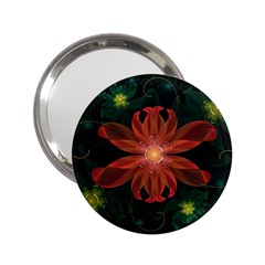 Beautiful Red Passion Flower In A Fractal Jungle 2 25  Handbag Mirrors by beautifulfractals