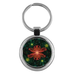 Beautiful Red Passion Flower In A Fractal Jungle Key Chains (round)  by beautifulfractals