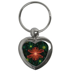Beautiful Red Passion Flower In A Fractal Jungle Key Chains (heart)  by beautifulfractals