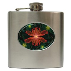 Beautiful Red Passion Flower In A Fractal Jungle Hip Flask (6 Oz) by beautifulfractals