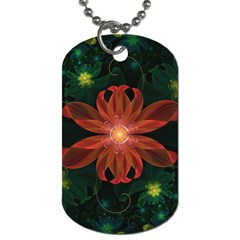 Beautiful Red Passion Flower In A Fractal Jungle Dog Tag (two Sides) by beautifulfractals