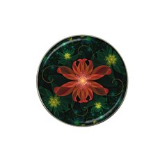 Beautiful Red Passion Flower In A Fractal Jungle Hat Clip Ball Marker by beautifulfractals